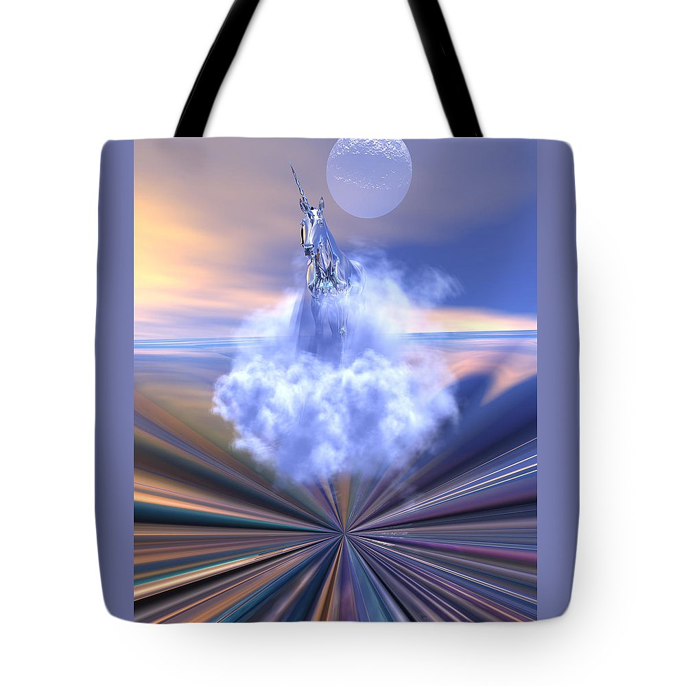 Bryce Tote Bag featuring the digital art The Last Of The Unicorns by Claude McCoy