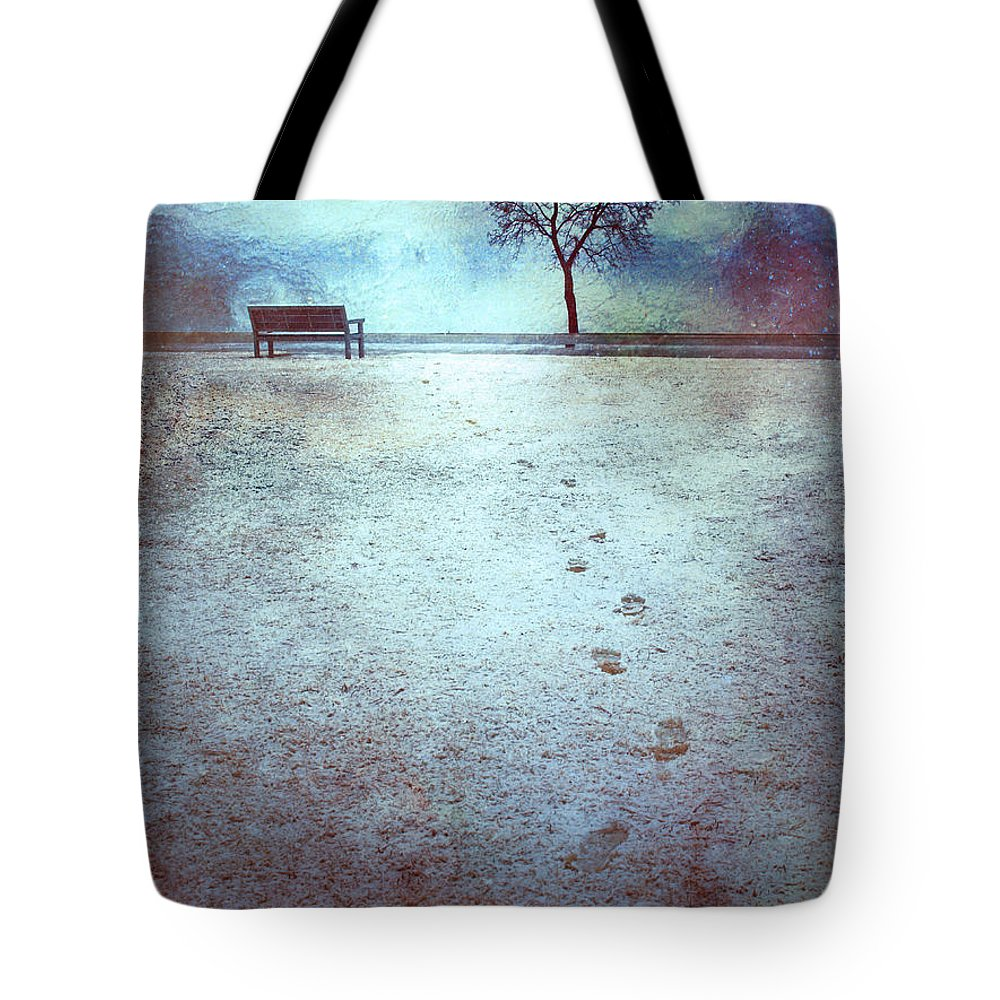 Bench Tote Bag featuring the photograph The Last Snowfall by Tara Turner