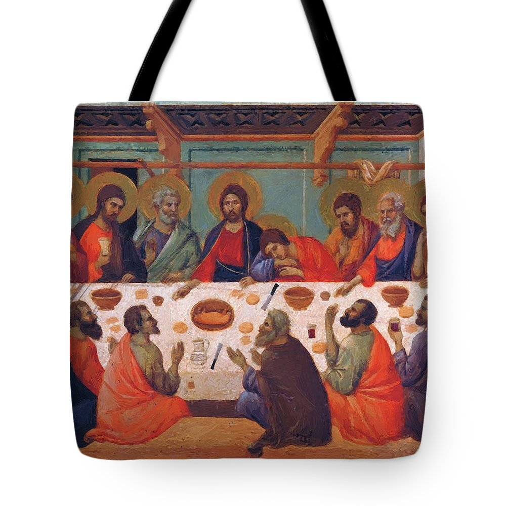 The Tote Bag featuring the painting The Last Supper 1311 by Duccio