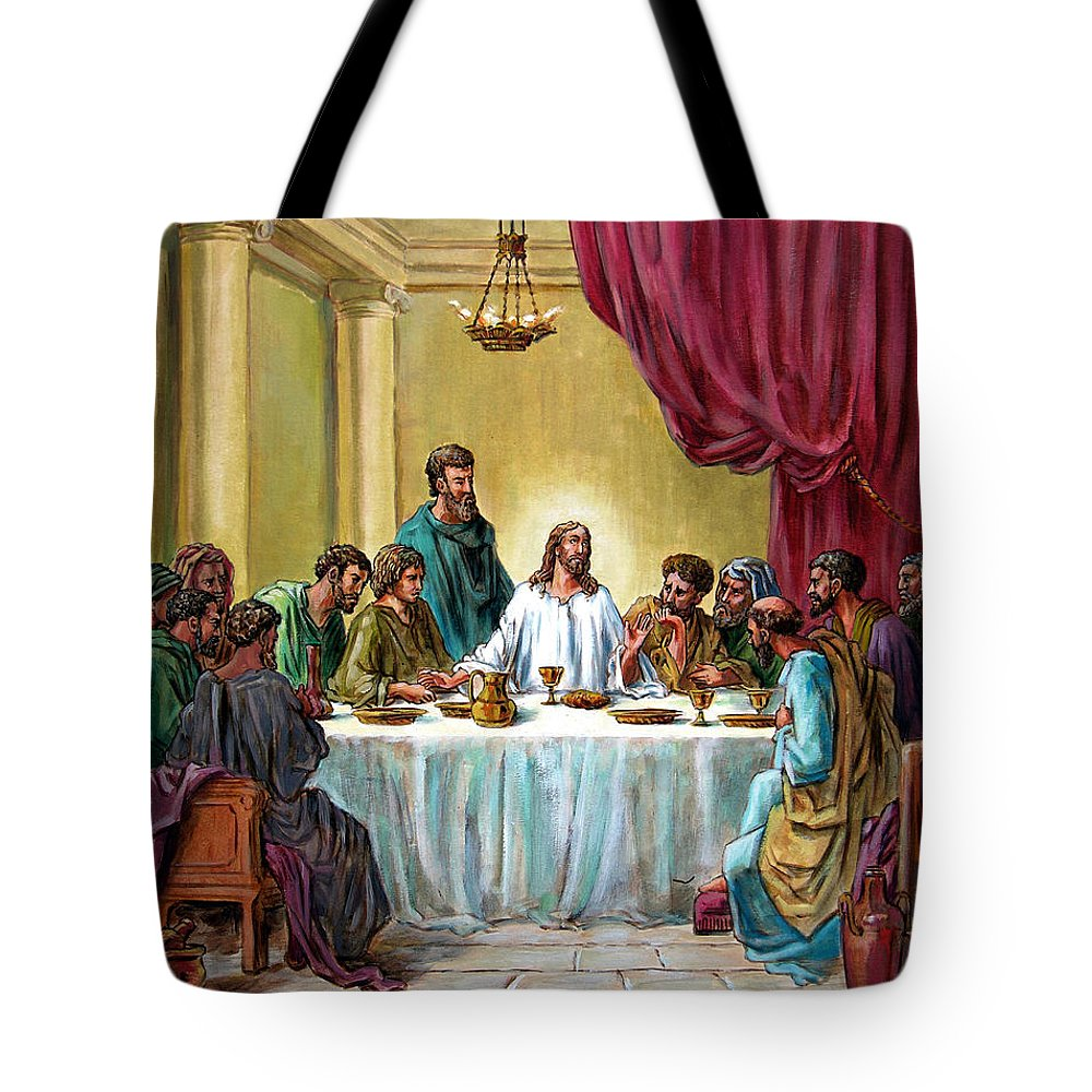Jesus Tote Bag featuring the painting The Last Supper by John Lautermilch