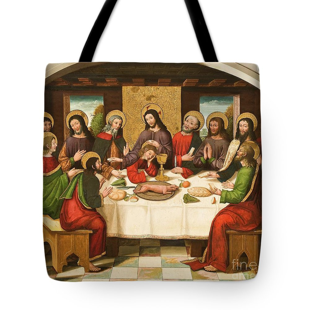The Last Supper Tote Bag featuring the painting The Last Supper by Master of Portillo