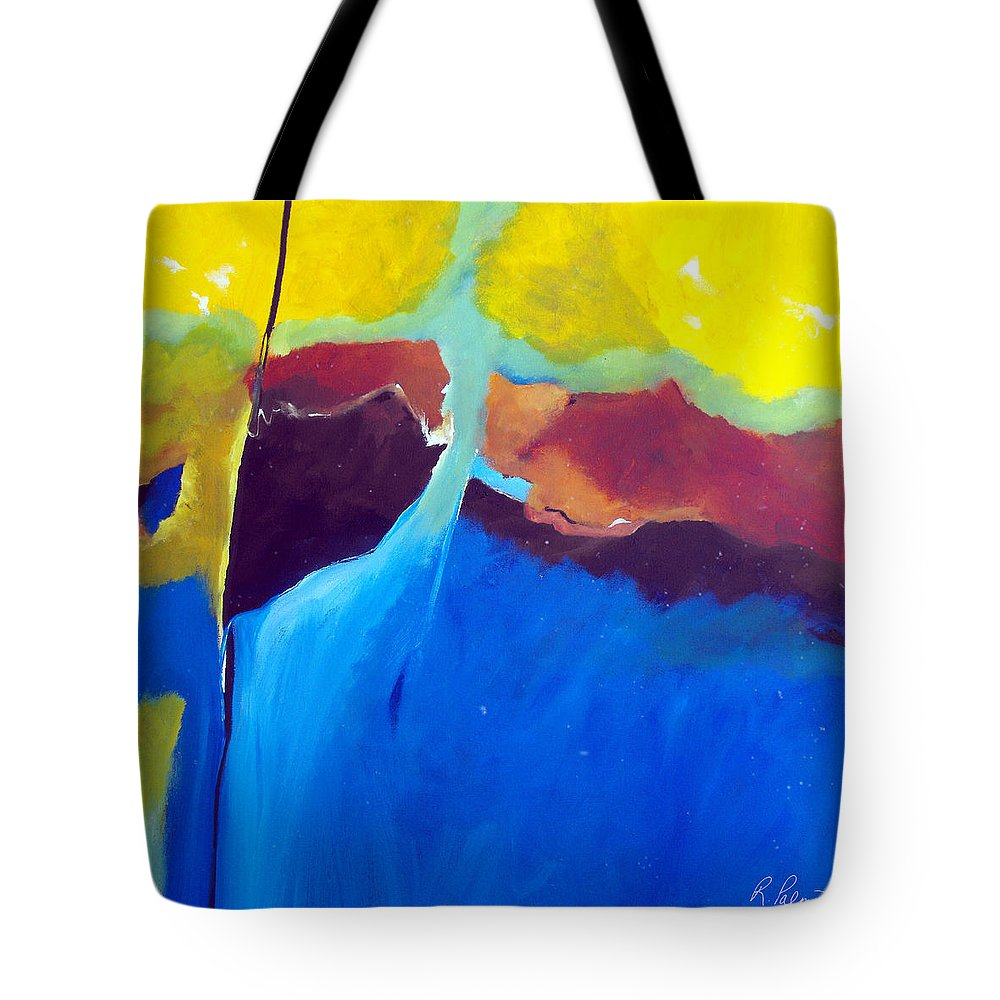 Abstract Tote Bag featuring the painting The Lay Of The Land by Ruth Palmer