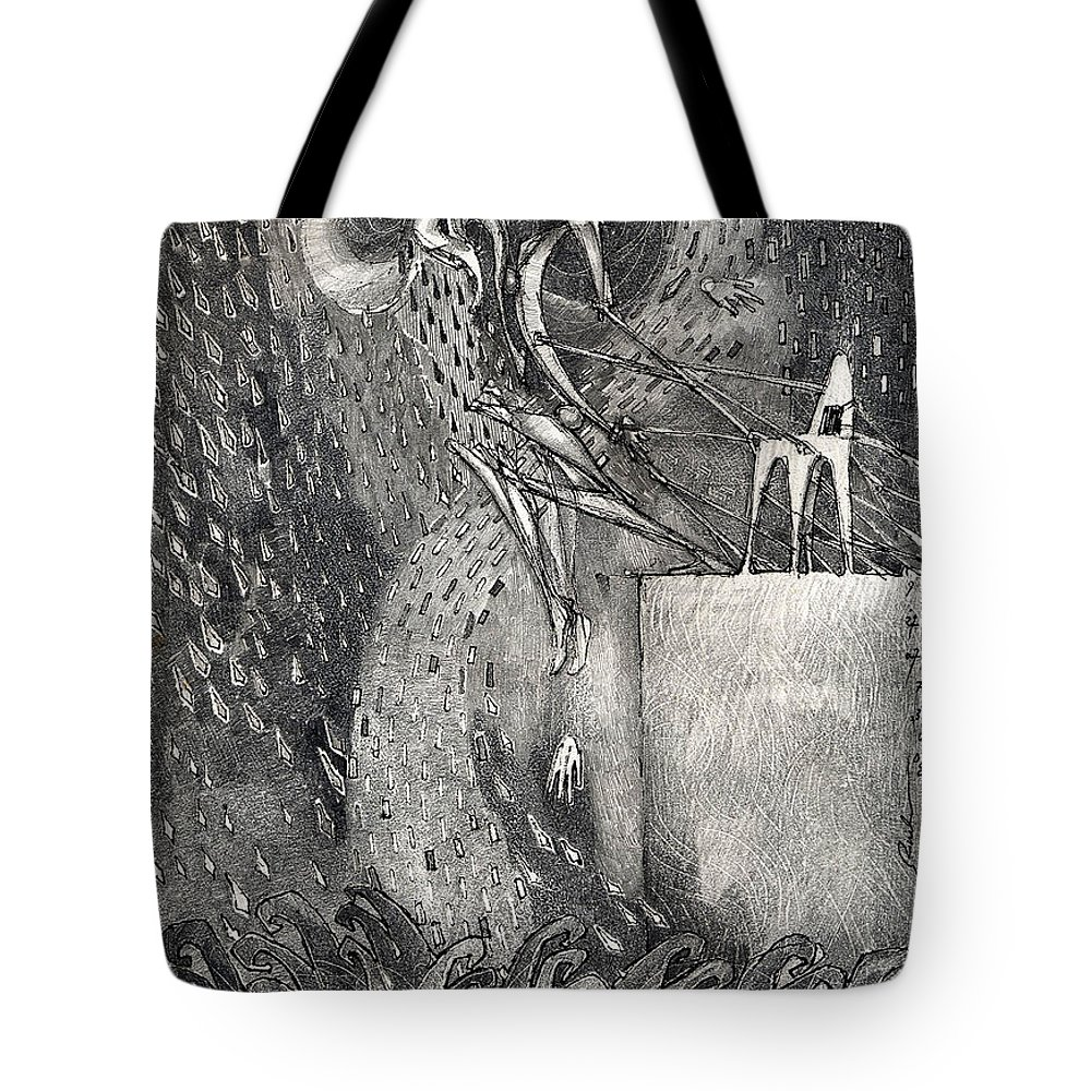 Leap Tote Bag featuring the drawing The Leap by Juel Grant