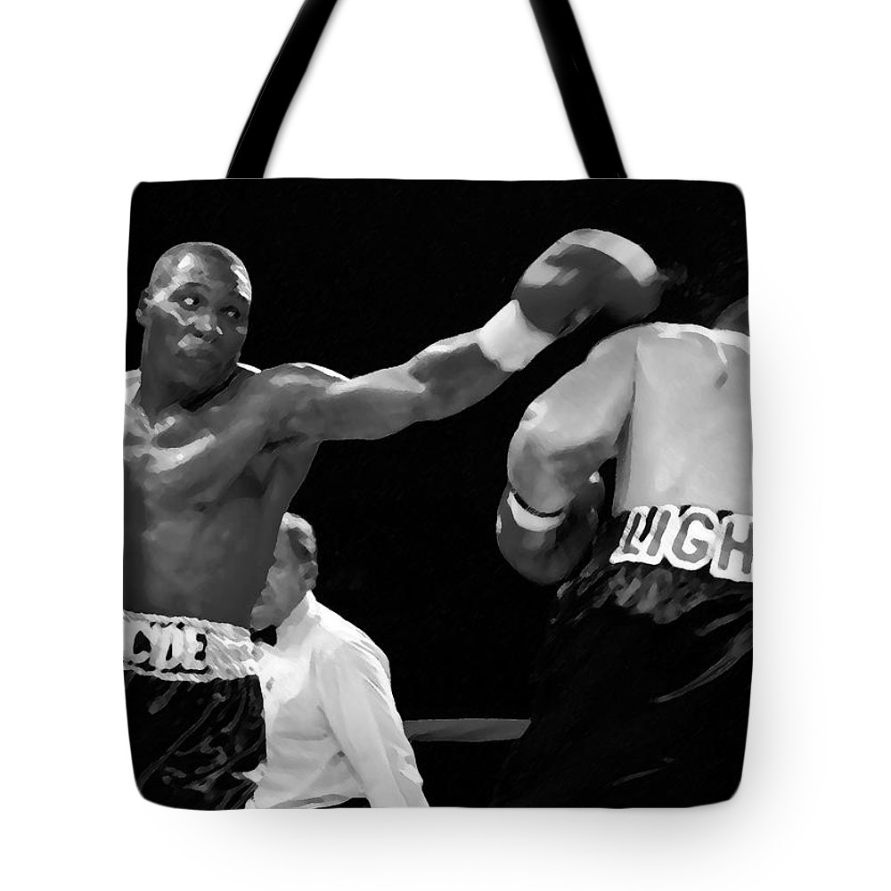 Jab Tote Bag featuring the painting The Left Jab by David Lee Thompson