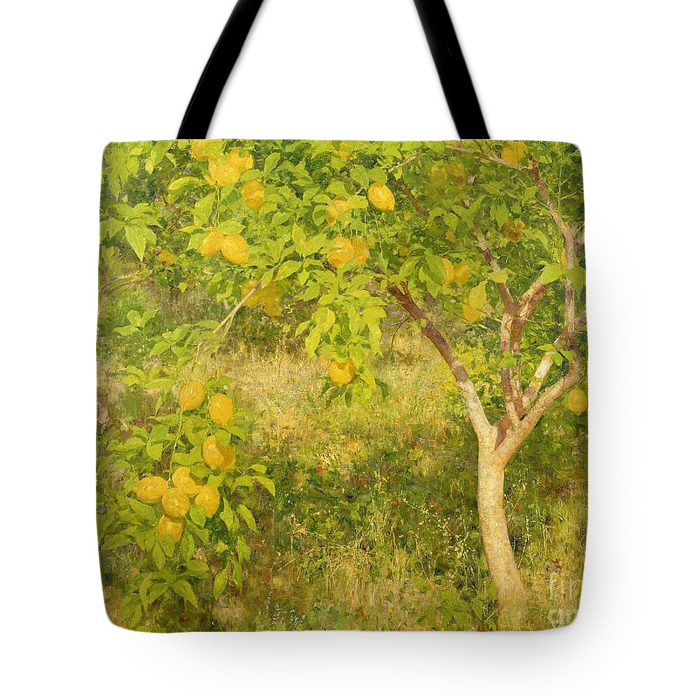 The Tote Bag featuring the painting The Lemon Tree by Henry Scott Tuke