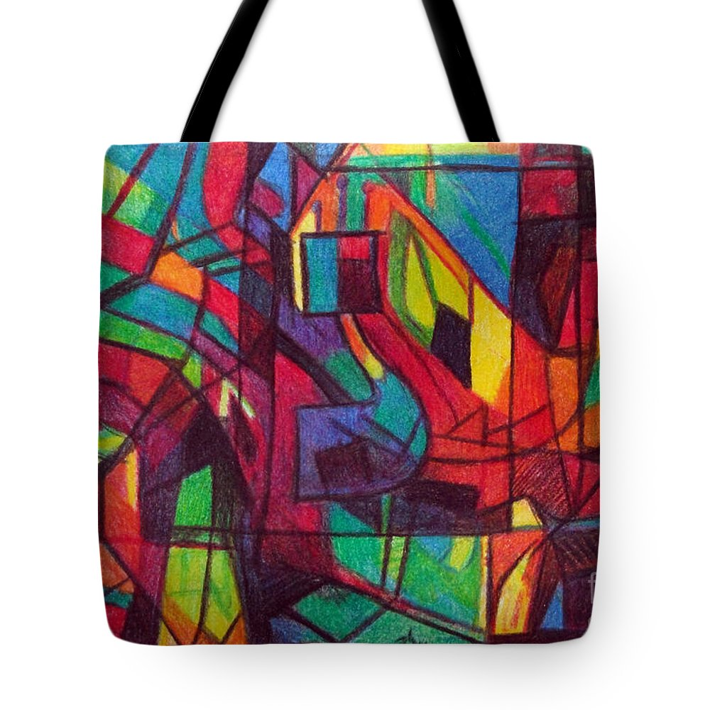 Torah Tote Bag featuring the drawing The Letter Nun by David Baruch Wolk