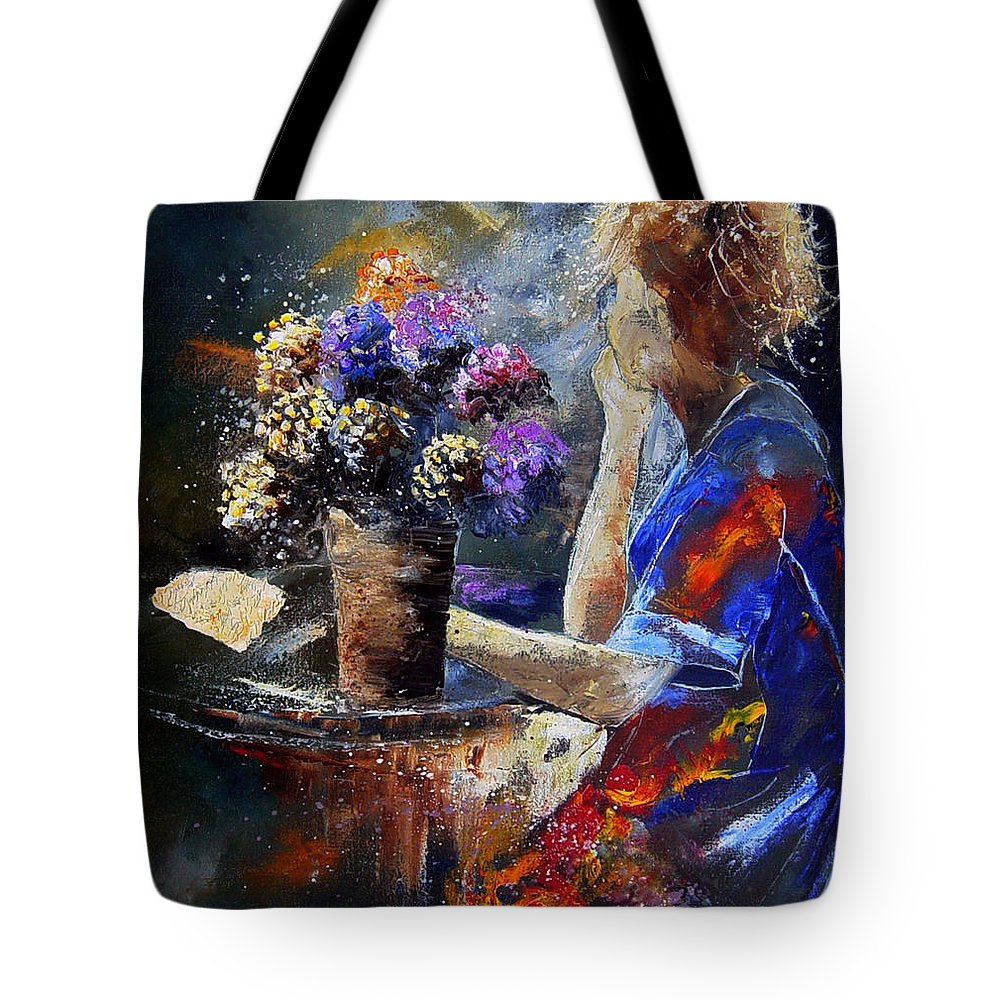 Girl Nude Tote Bag featuring the painting The Letter by Pol Ledent