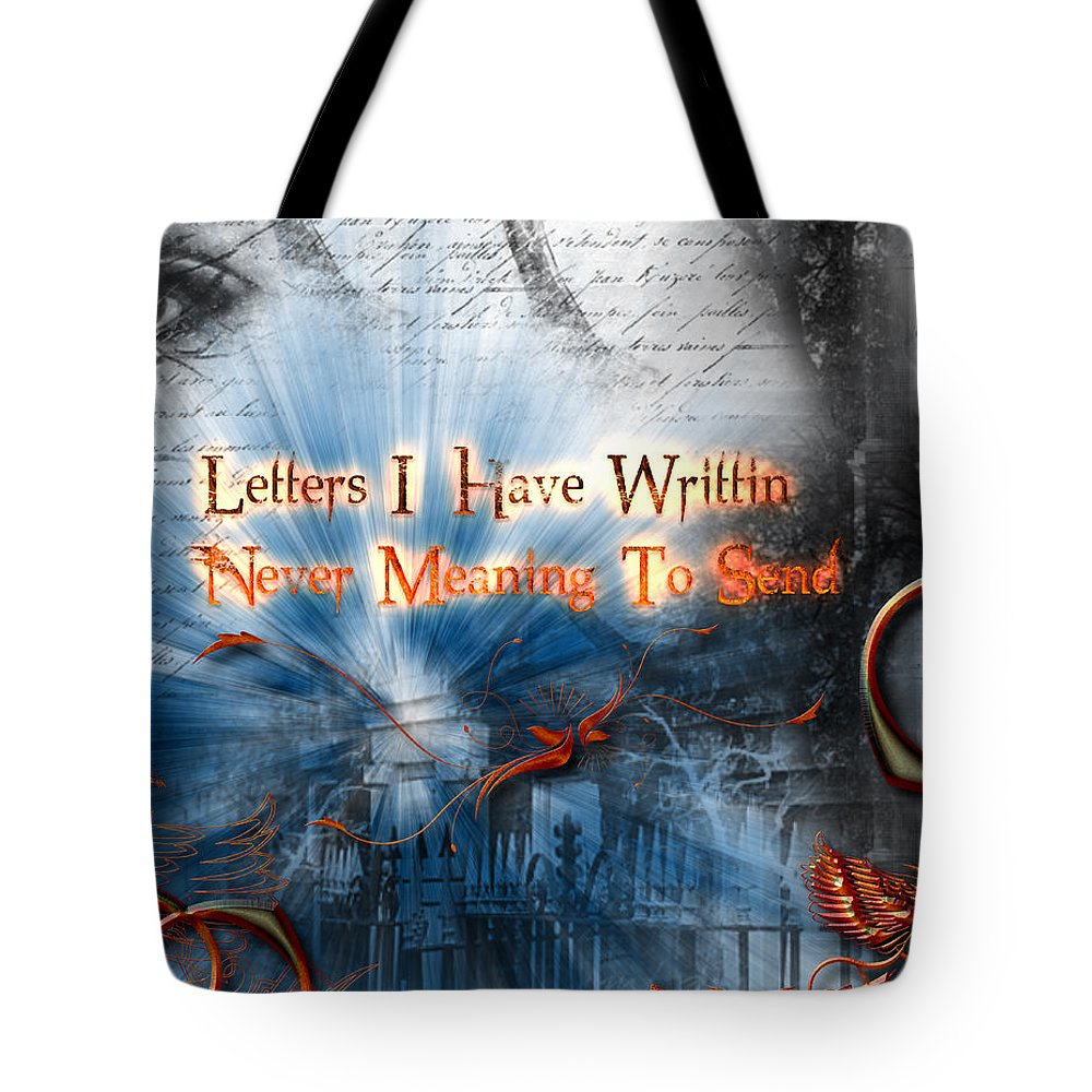 Letters Tote Bag featuring the digital art The Letters by Michael Damiani