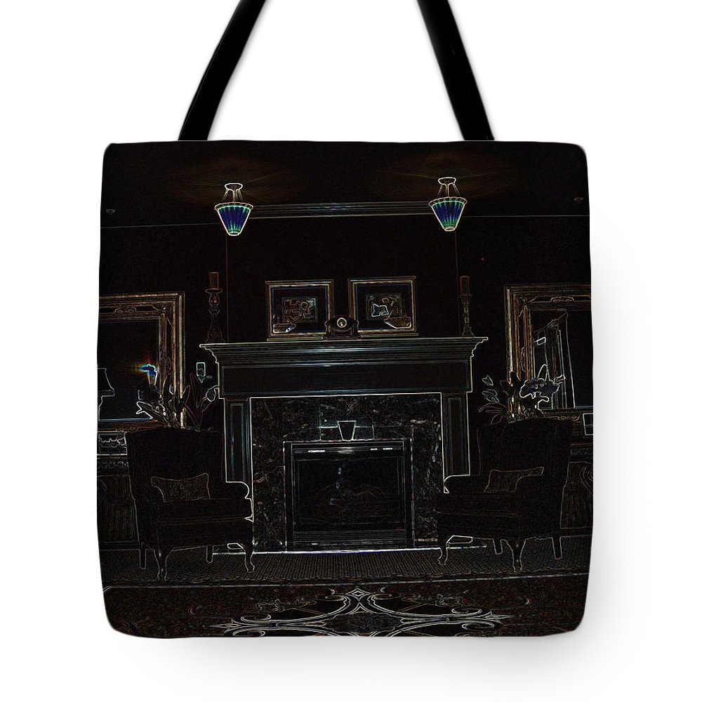 Library Room Building Interior Design Balanced Glowing Edges Tote Bag featuring the photograph The Library by Andrea Lawrence