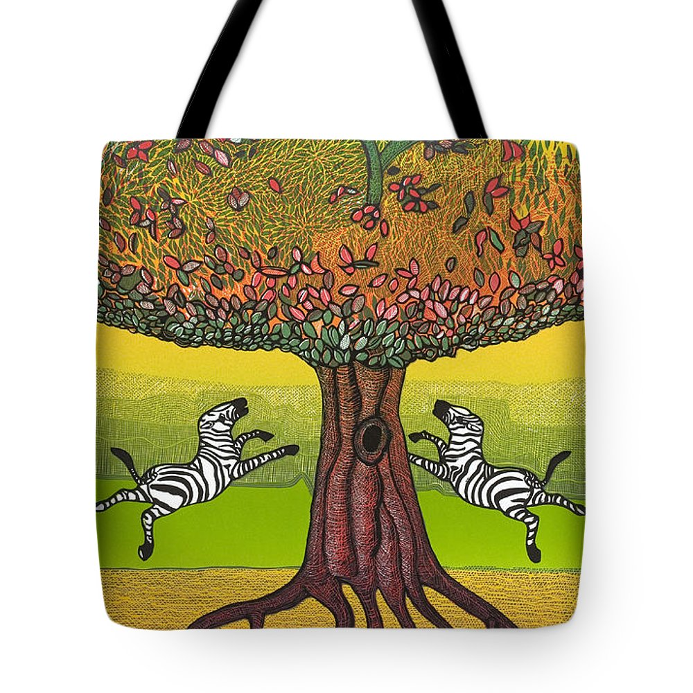 Landscape Tote Bag featuring the mixed media The Life-giving Tree. by Jarle Rosseland