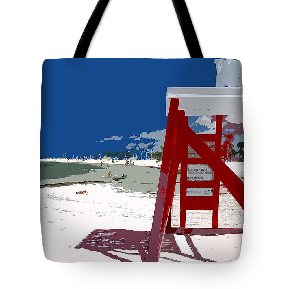Lifeguard Stand Tote Bag featuring the painting The Lifeguard Stand by David Lee Thompson