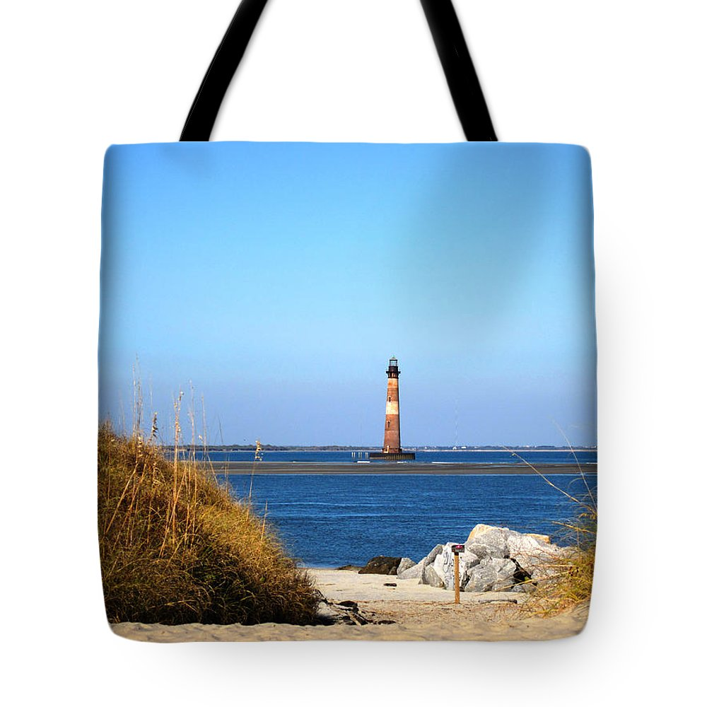 Photography Tote Bag featuring the photograph The Lighhouse At Morris Island Charleston by Susanne Van Hulst