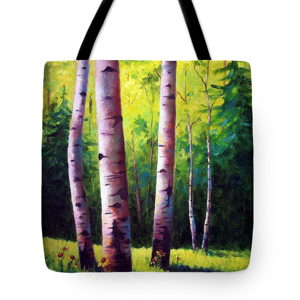 Aspen Tote Bag featuring the painting The Light Of Spring by David G Paul