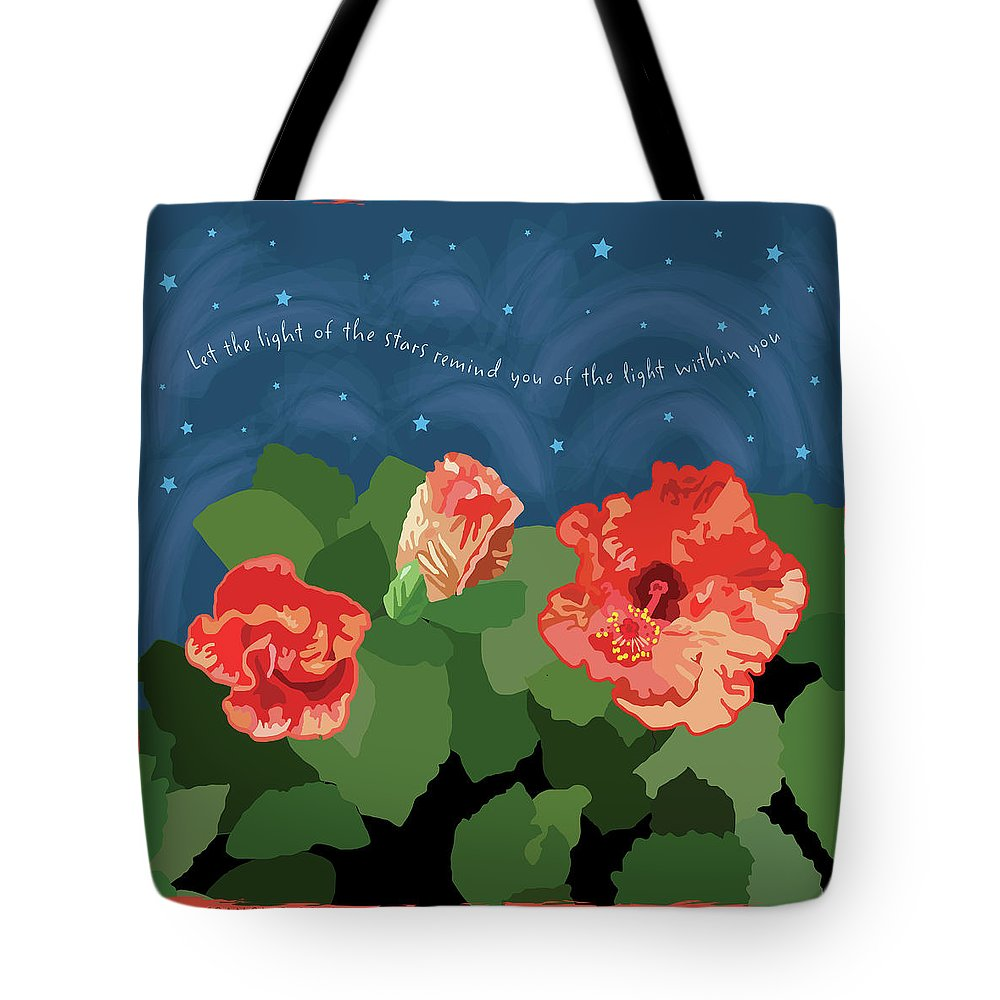 Romantic Tote Bag featuring the digital art The Light Of The Stars by Susan Spangler
