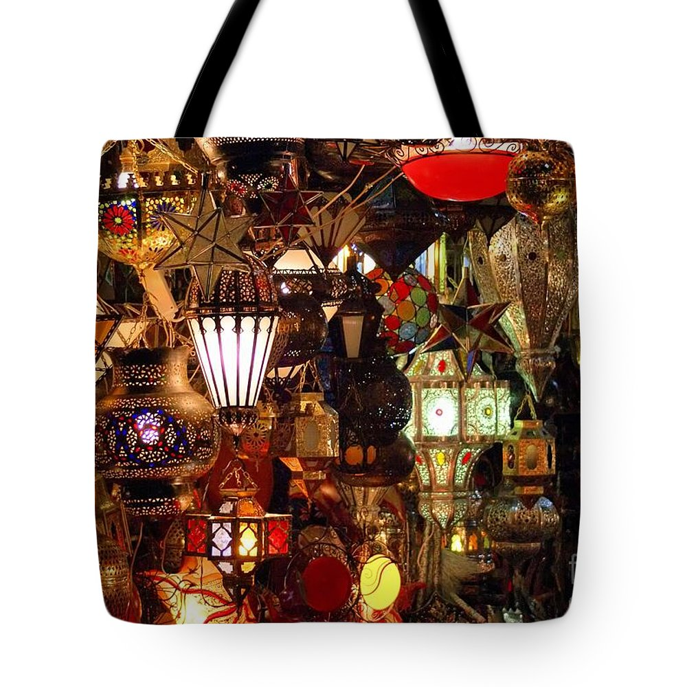 Lights Tote Bag featuring the photograph The Light Shop Marrakesh by Brian Raggatt