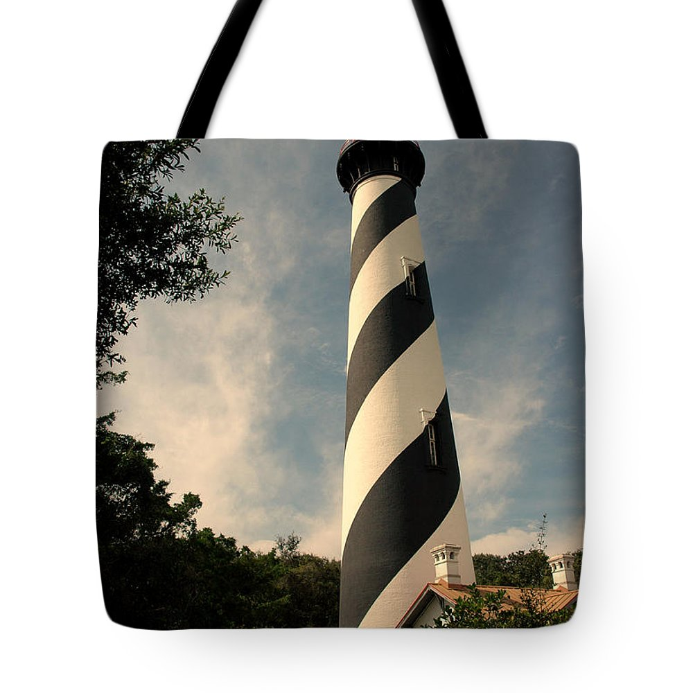 Lighthouse Tote Bag featuring the photograph The Lighthouse In St.augustin Fl by Susanne Van Hulst