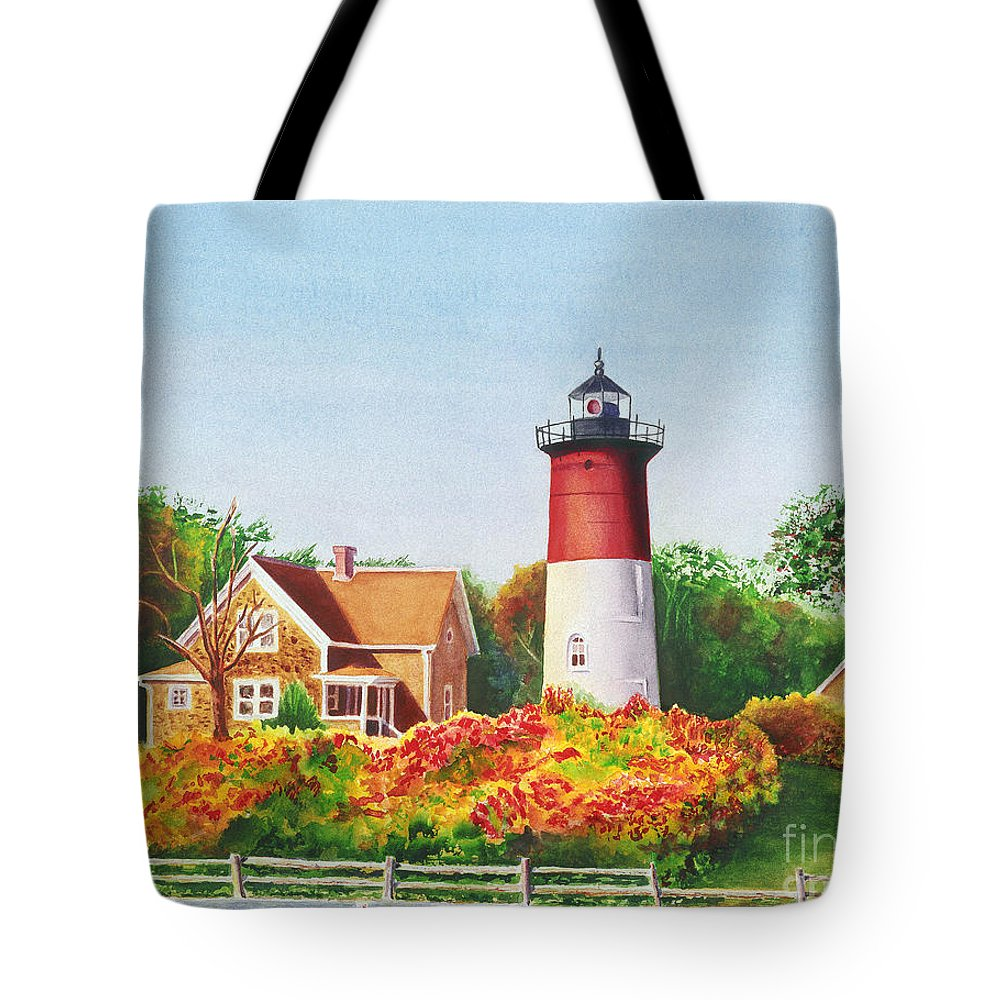 Lighthouse Tote Bag featuring the painting The Lighthouse by Karen Fleschler