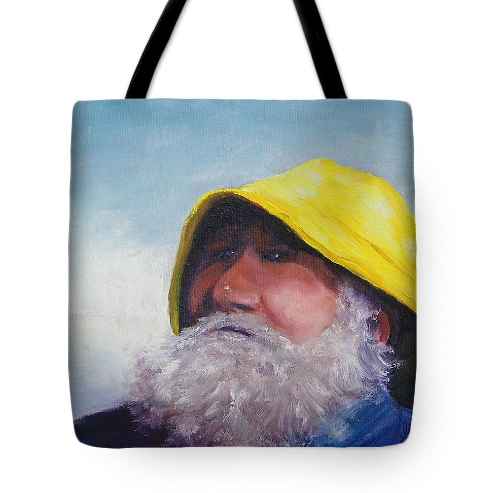 Old Man And The Sea Tote Bag featuring the painting The Lighthouse Keeper by Gale Cochran-Smith