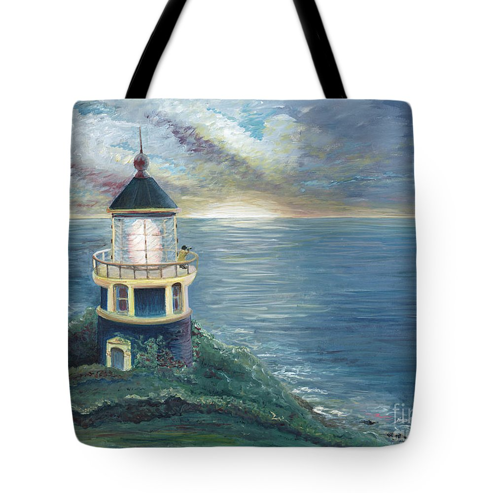 Lighthouse Tote Bag featuring the painting The Lighthouse by Nadine Rippelmeyer