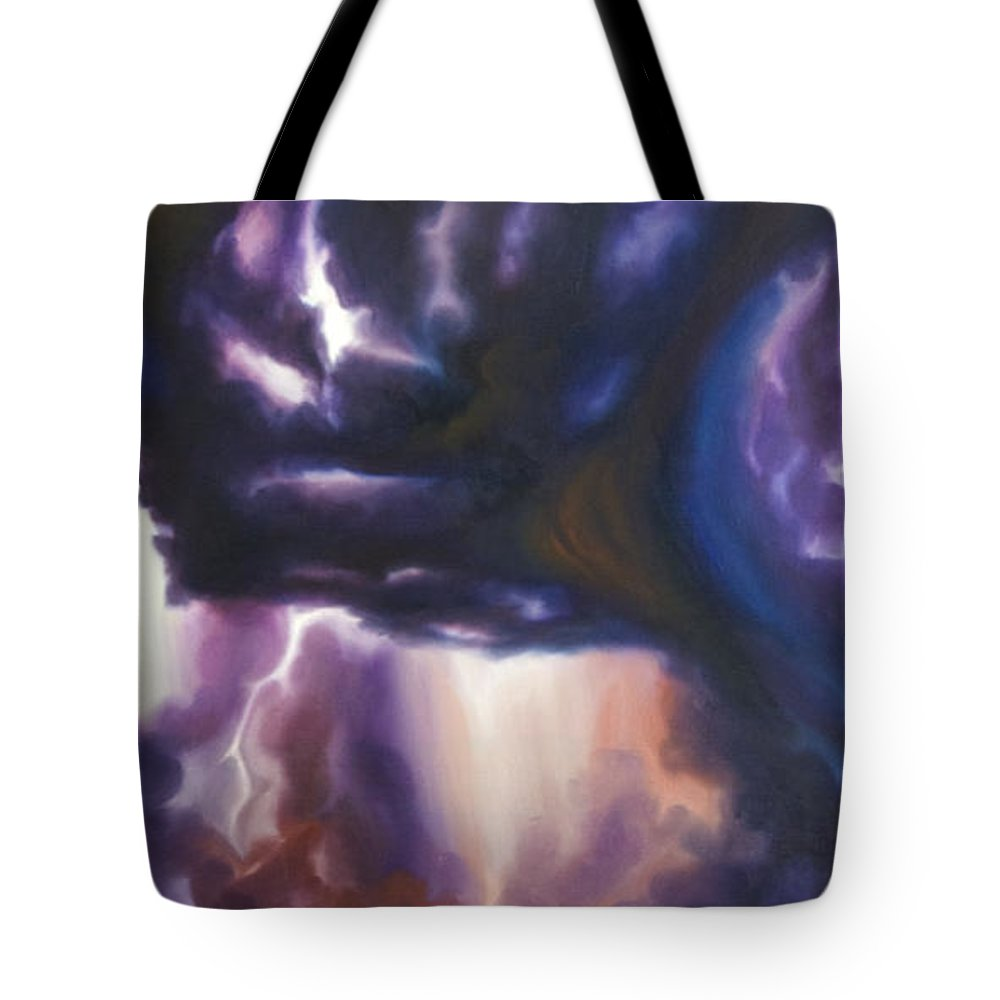Tempest Tote Bag featuring the painting The Lightning by James Christopher Hill