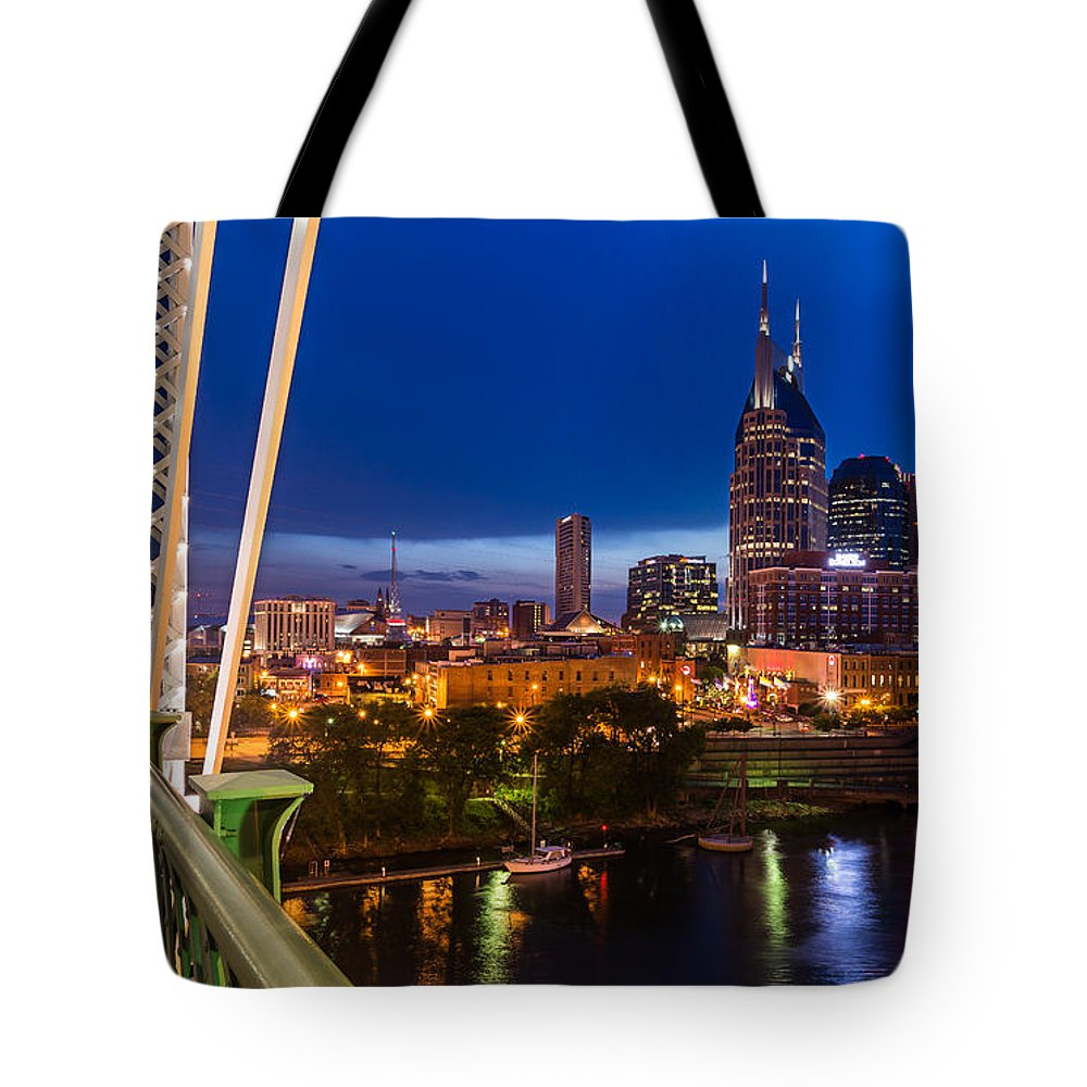 Nashville Tote Bag featuring the photograph The Lights Of Music City by Clay Townsend
