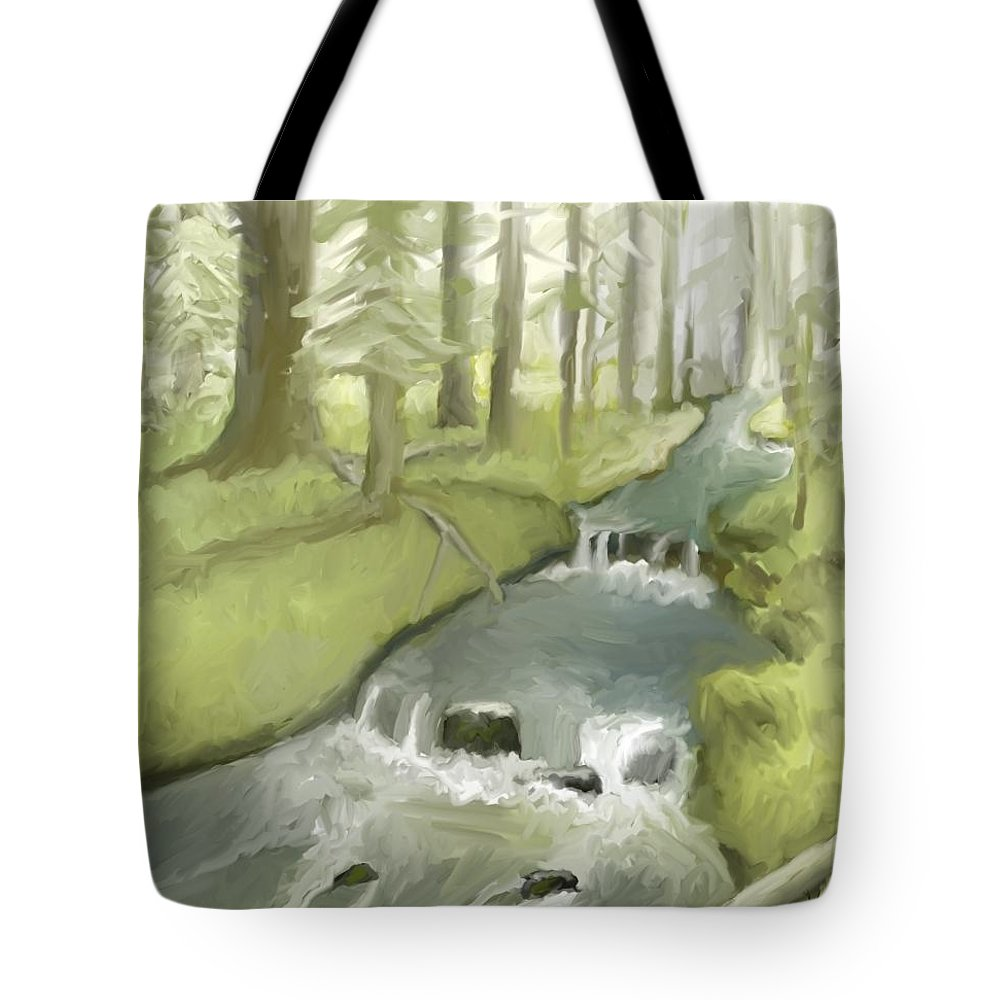 Stream Tote Bag featuring the painting The Lilt Of The Water by Suryadas Joel Holliman