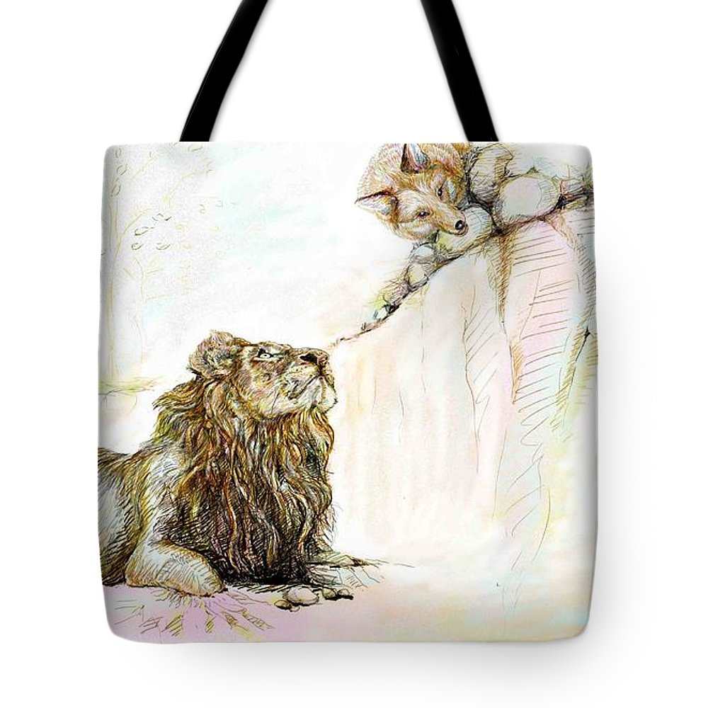 Lion Tote Bag featuring the painting The Lion And The Fox 1 - The First Meeting by Sukalya Chearanantana