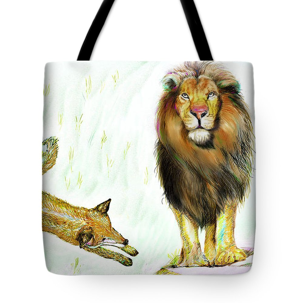 Lion Tote Bag featuring the painting The Lion And The Fox 2 - The True Friendship by Sukalya Chearanantana