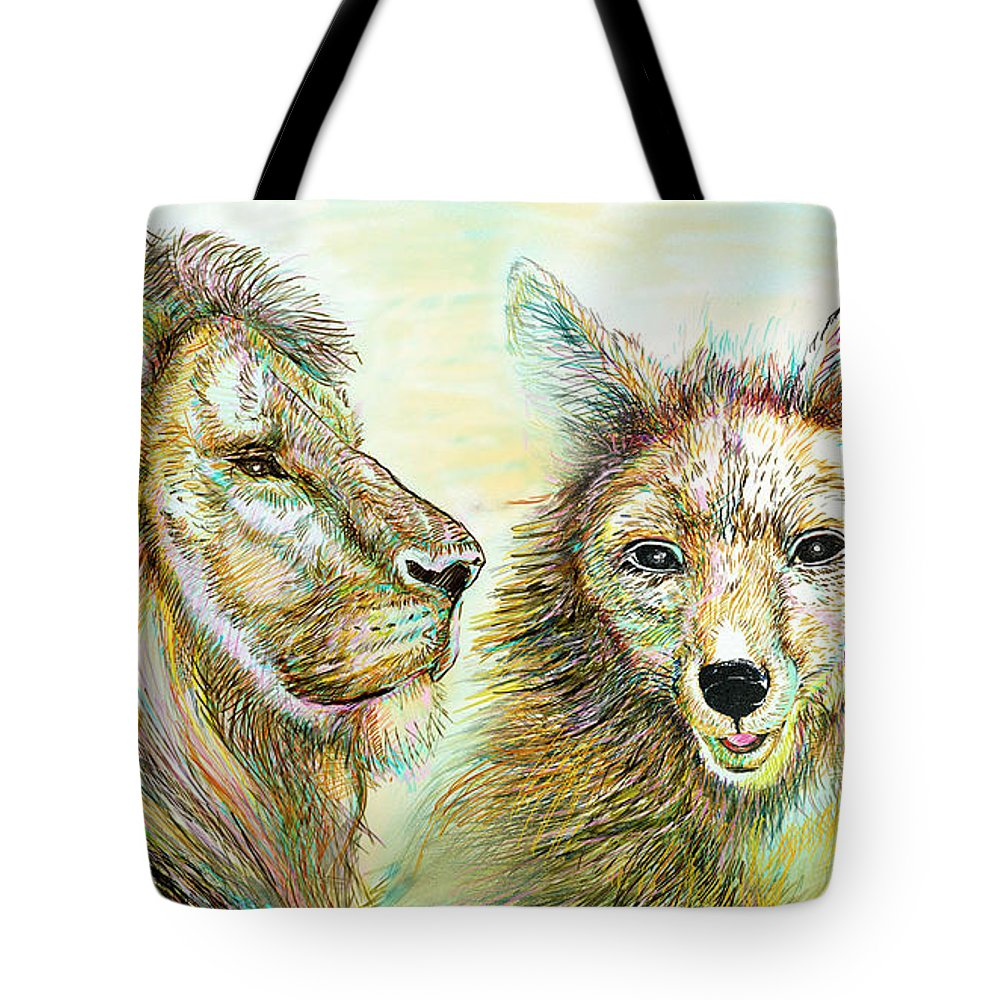 Lion Tote Bag featuring the painting The Lion And The Fox 3 - To Face How Real Of Faith by Sukalya Chearanantana