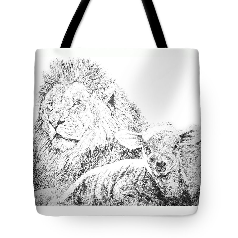 Lion Tote Bag featuring the drawing The Lion And The Lamb by Bryan Bustard