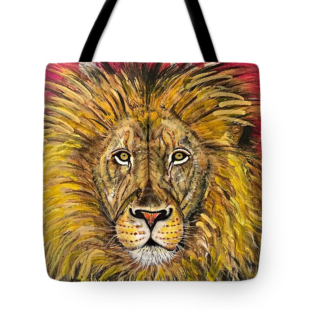 Lions Face Tote Bag featuring the painting The Lions Selfie by John Rankin