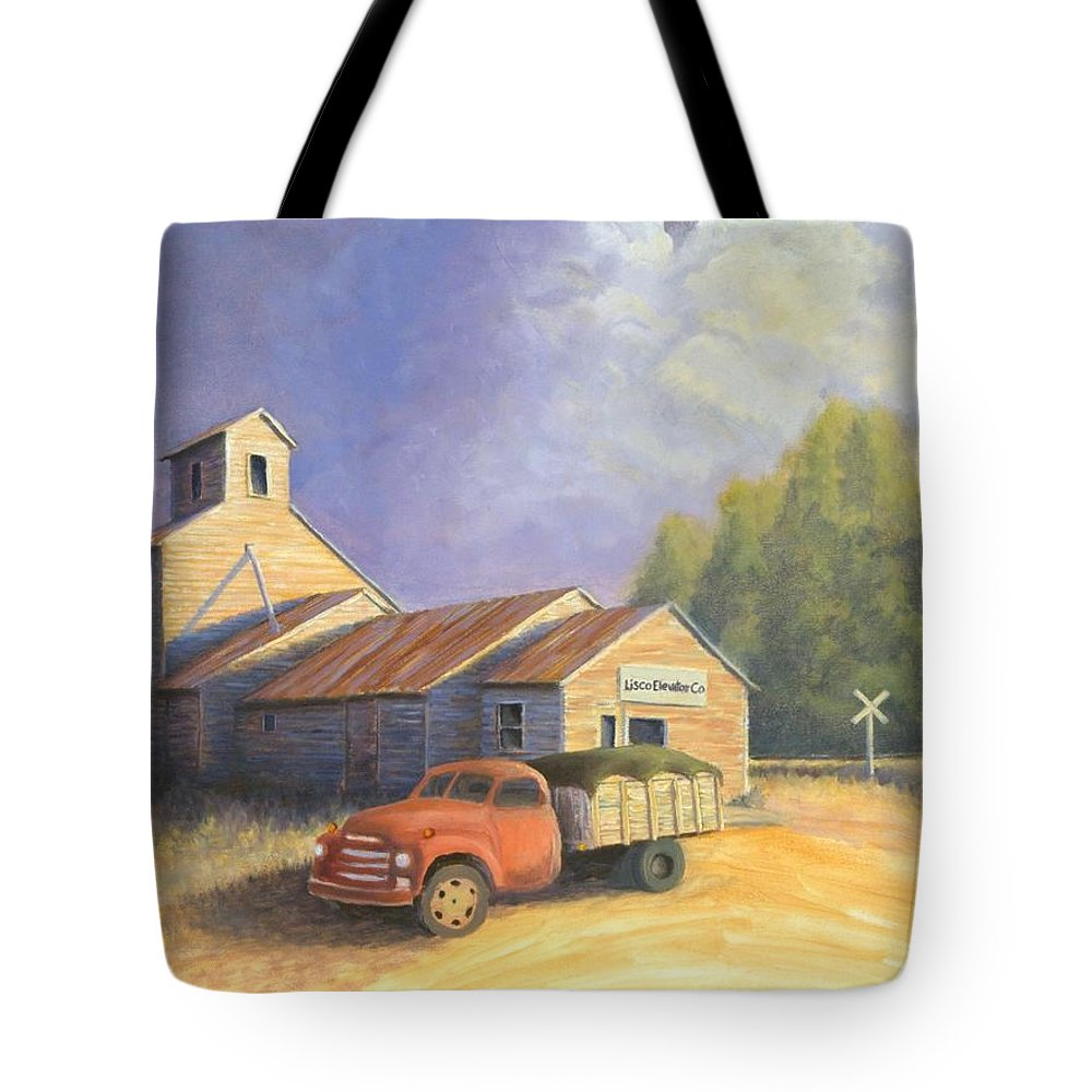 Nebraska Tote Bag featuring the painting The Lisco Elevator by Jerry McElroy