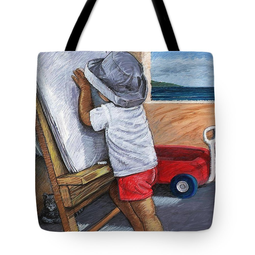 Young Artist Tote Bag featuring the painting The Little Artist by Snake Jagger