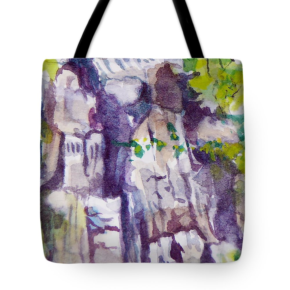Purple Tote Bag featuring the painting The Little Climbing Wall by Jan Bennicoff