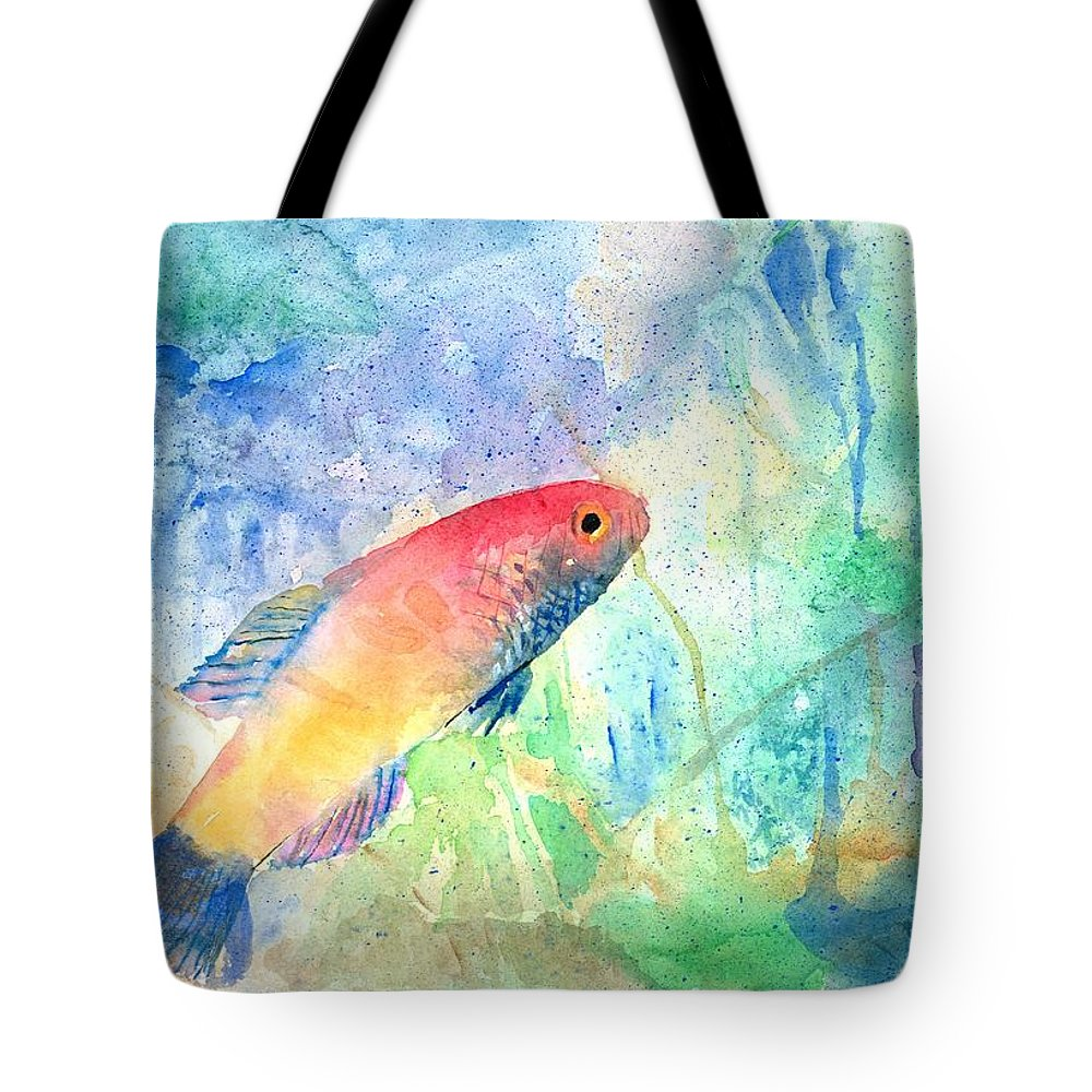 Fish Tote Bag featuring the painting The Little Fish by Arline Wagner