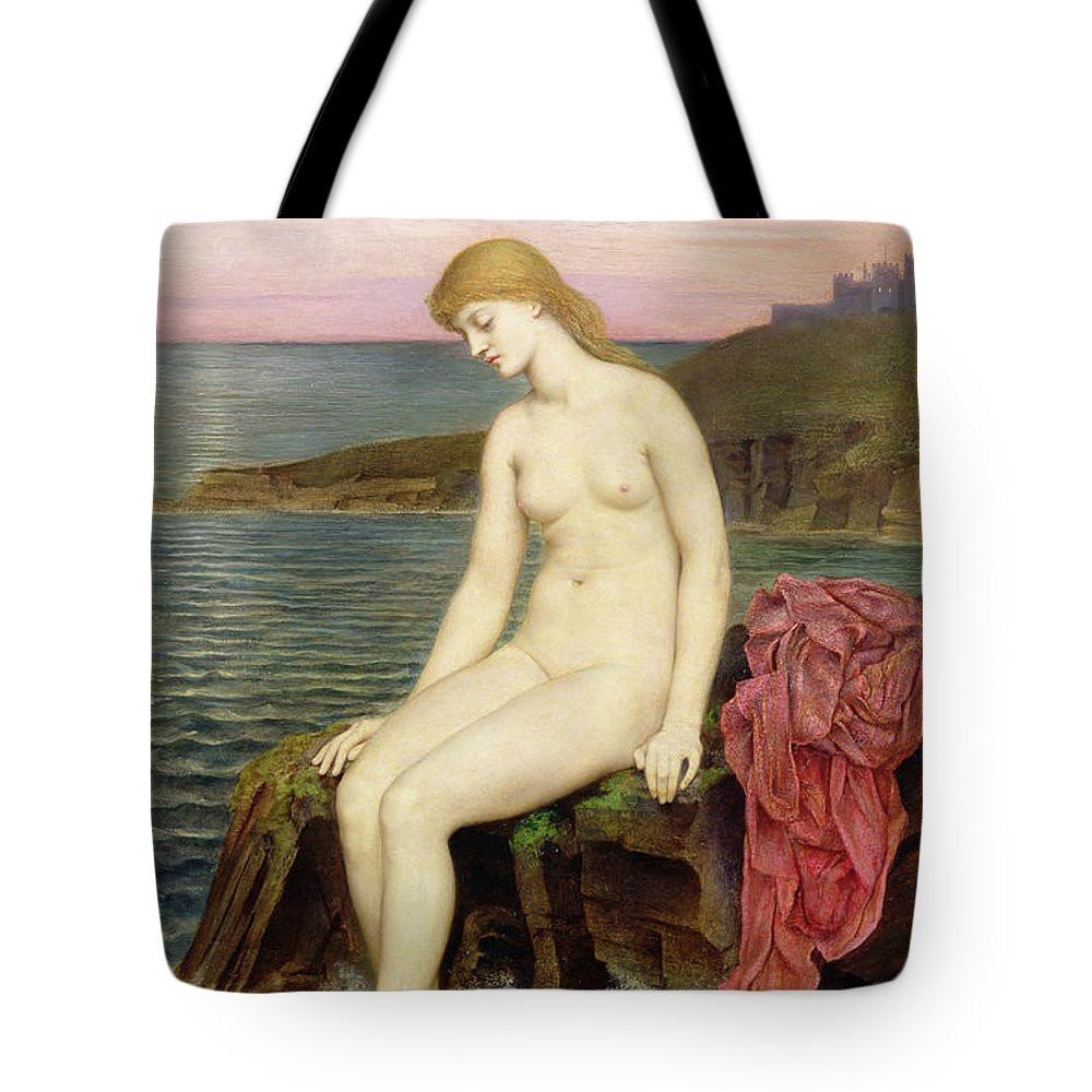 Rocks; Female; Nude; Girl; Mermaid; Hans Christian Andersen; Thoughtful; Pensive; Sunset; Crescent Moon; Castle; Cliff Tote Bag featuring the painting The Little Sea Maid by Evelyn De Morgan