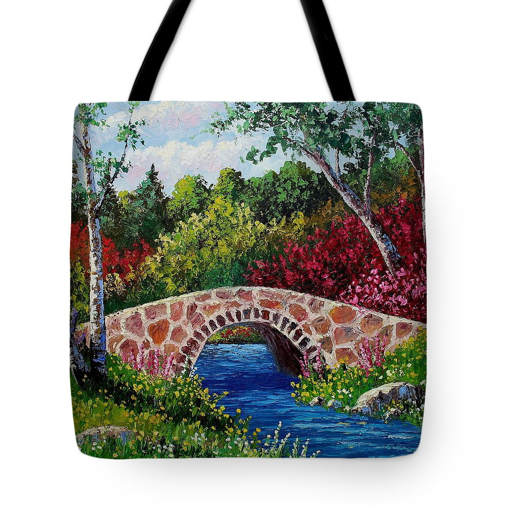 Landscape Tote Bag featuring the painting The Little Stone Bridge by David G Paul