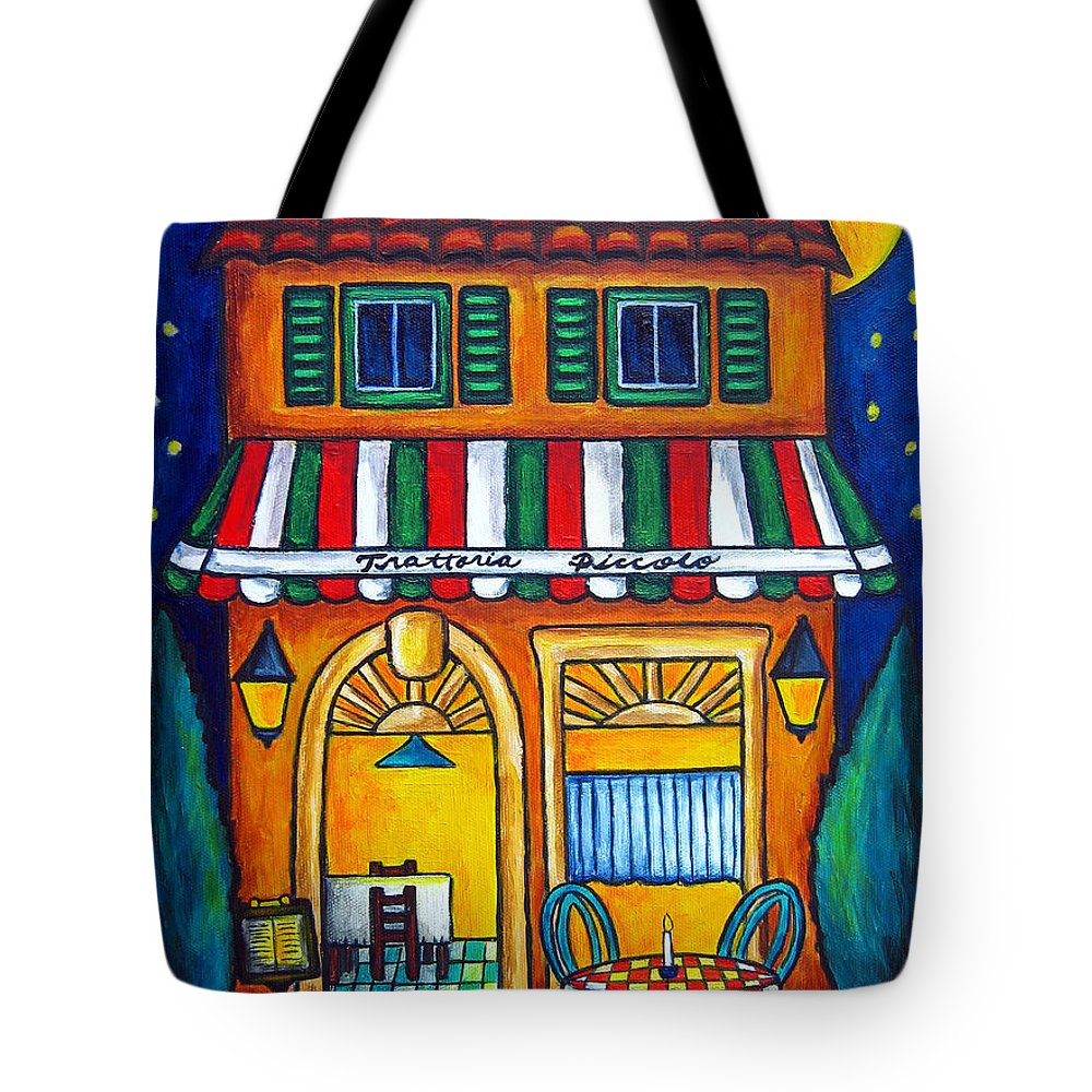 Blue Tote Bag featuring the painting The Little Trattoria by Lisa Lorenz