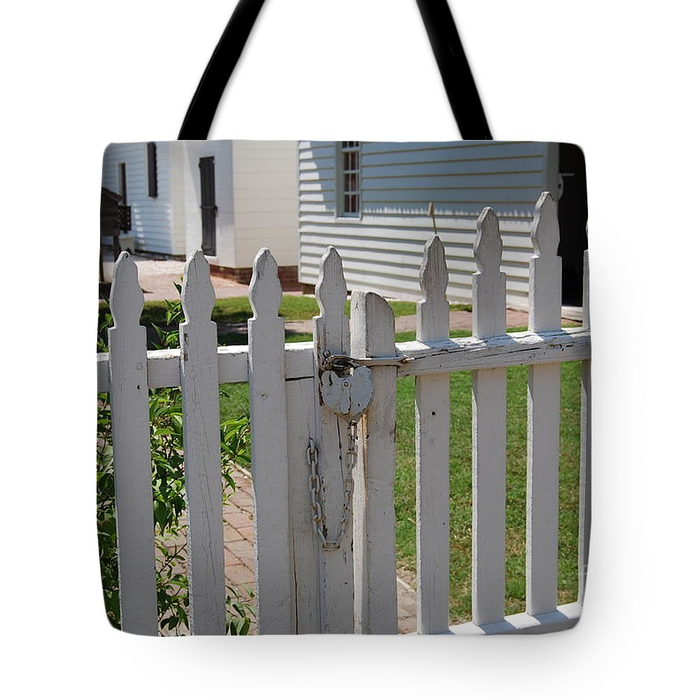 Gate Tote Bag featuring the photograph The Lock by Eric Liller
