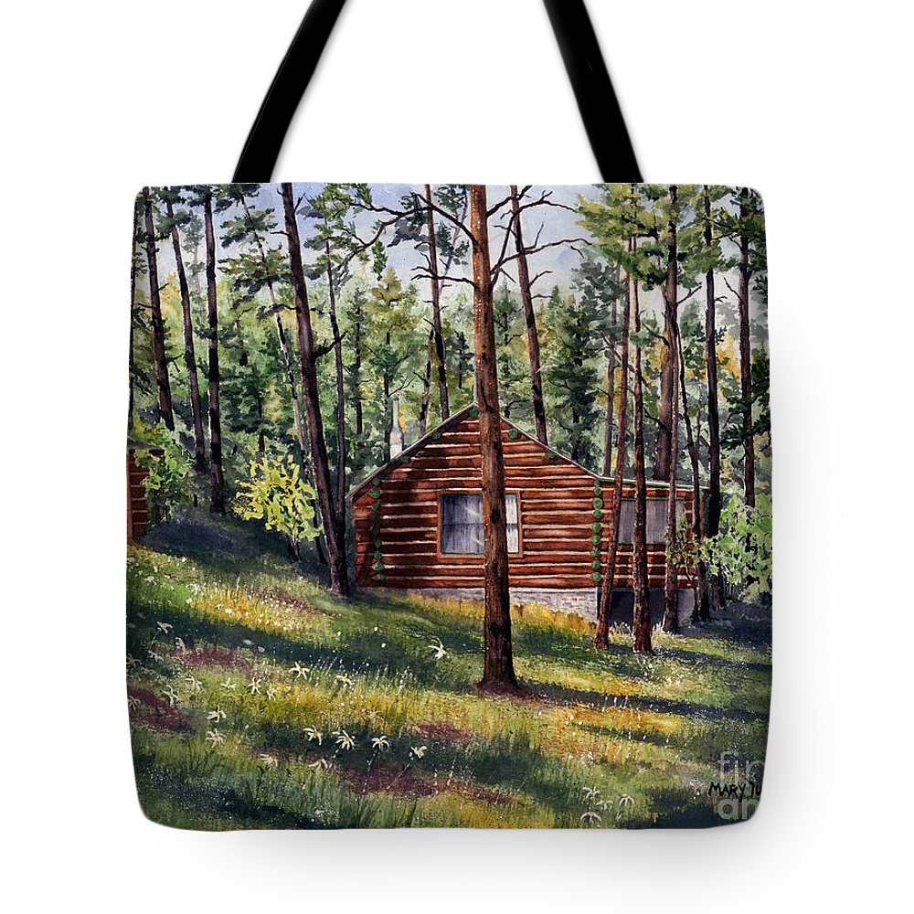 Nature Tote Bag featuring the painting The Log Cabin by Mary Tuomi