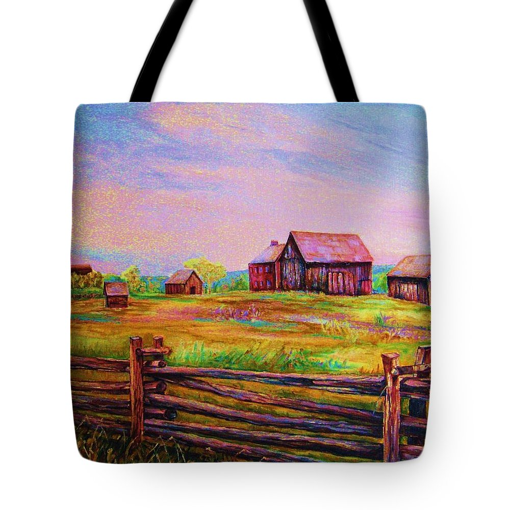 Ranches Tote Bag featuring the painting The Log Fence by Carole Spandau