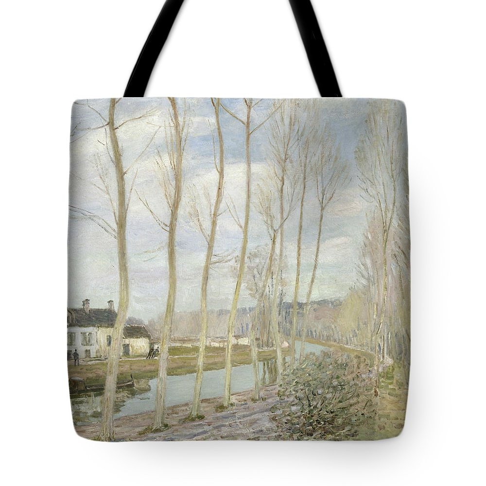 Alfred Sisley Tote Bag featuring the painting The Loing's Canal by Alfred Sisley