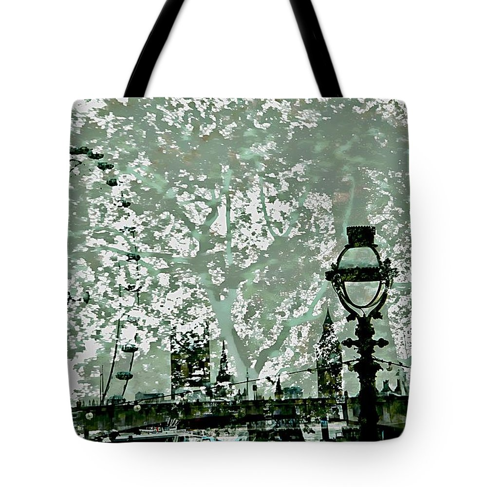 Lamp Post Tote Bag featuring the photograph The London Eye And A Bridge by Karen McKenzie McAdoo