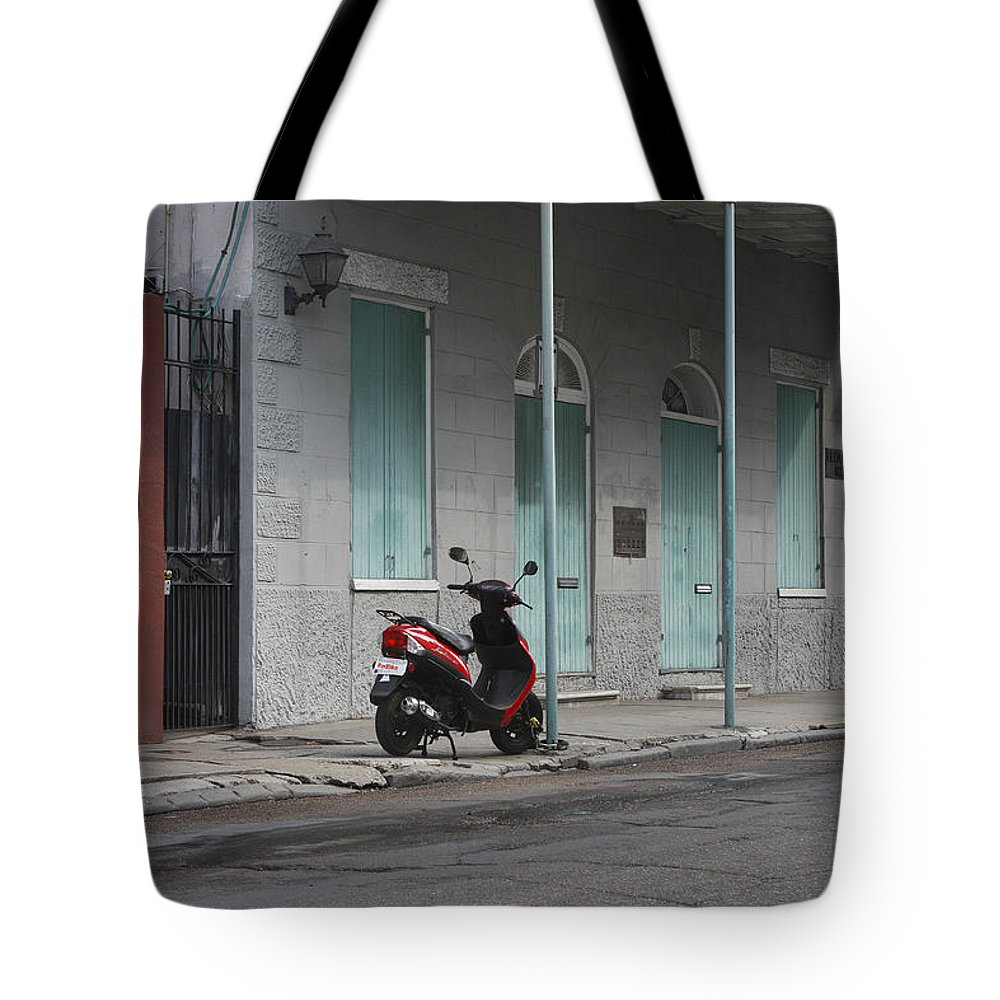 French Quarters Tote Bag featuring the photograph The Lone Bike by JoAnn Grafton