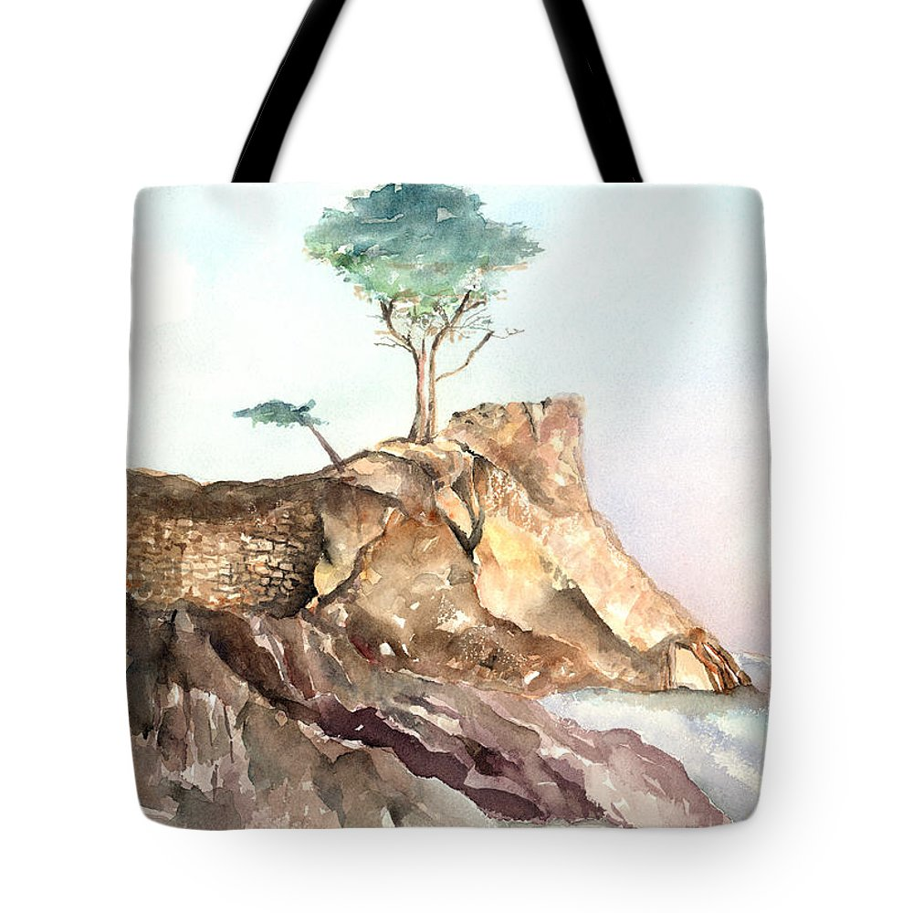 Tree Tote Bag featuring the painting The Lone Cypress-monterey Ca by Arline Wagner