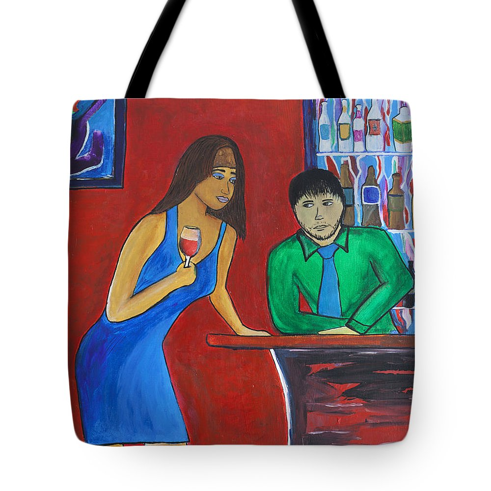 Abstract. Woman Tote Bag featuring the painting The Lone Patron by Alex Sowinski
