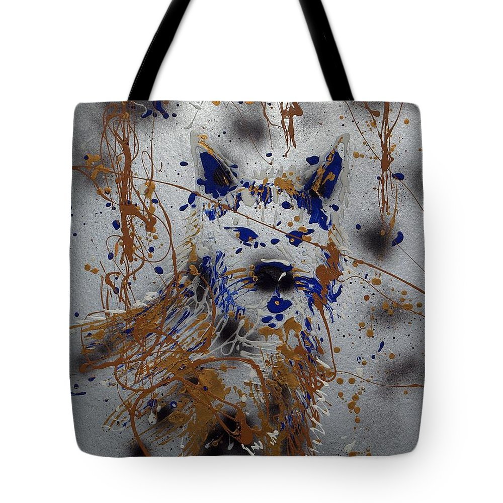 Impressionist Painting Tote Bag featuring the mixed media The Lone Wolf Canis Lupus by J R Seymour