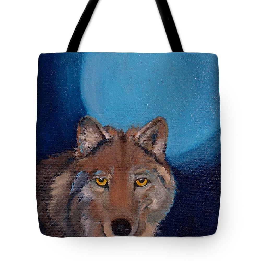 Wolf Tote Bag featuring the painting The Loner by Nataya Crow