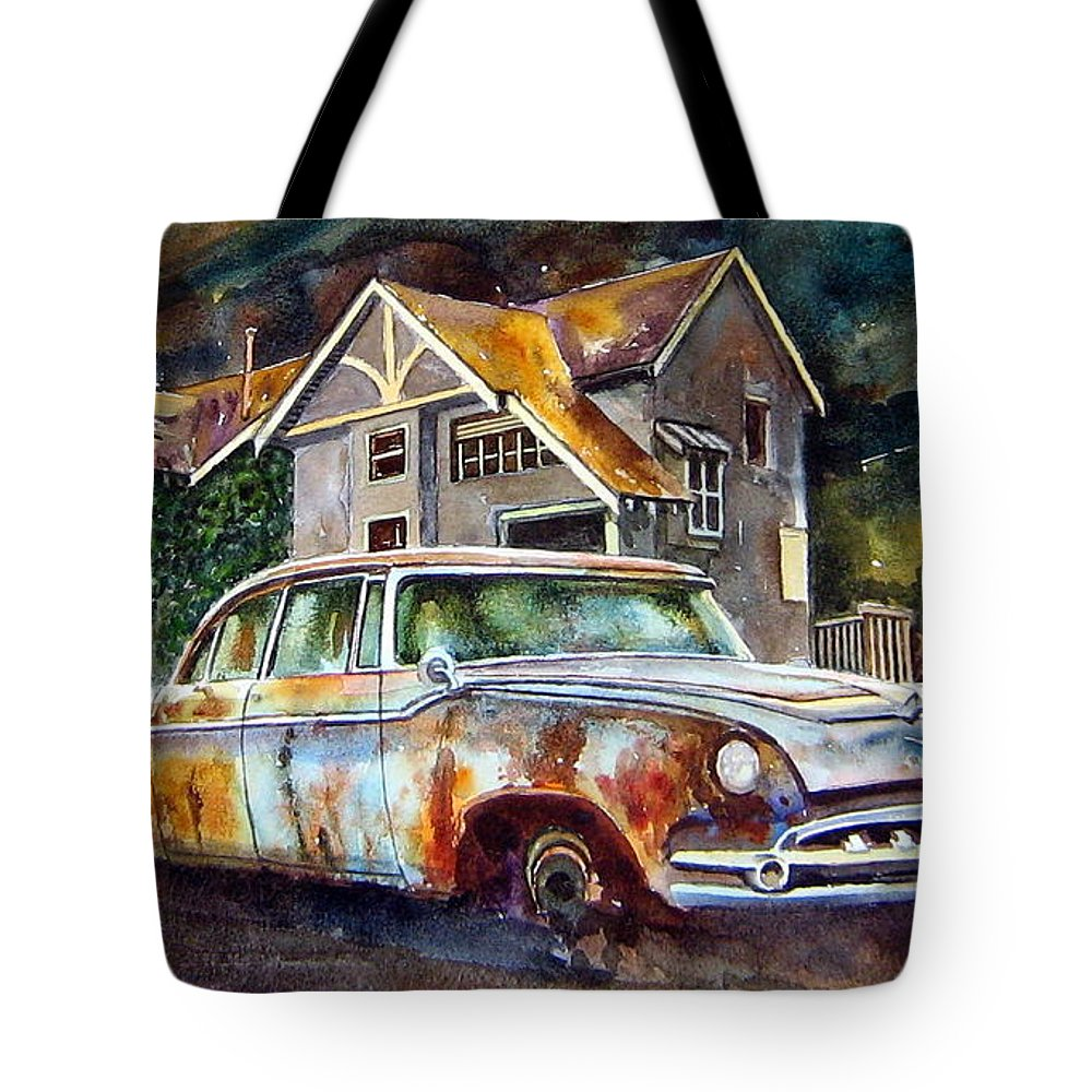 Old Dodoges Tote Bag featuring the painting The Lonesome Hotel by Ron Morrison