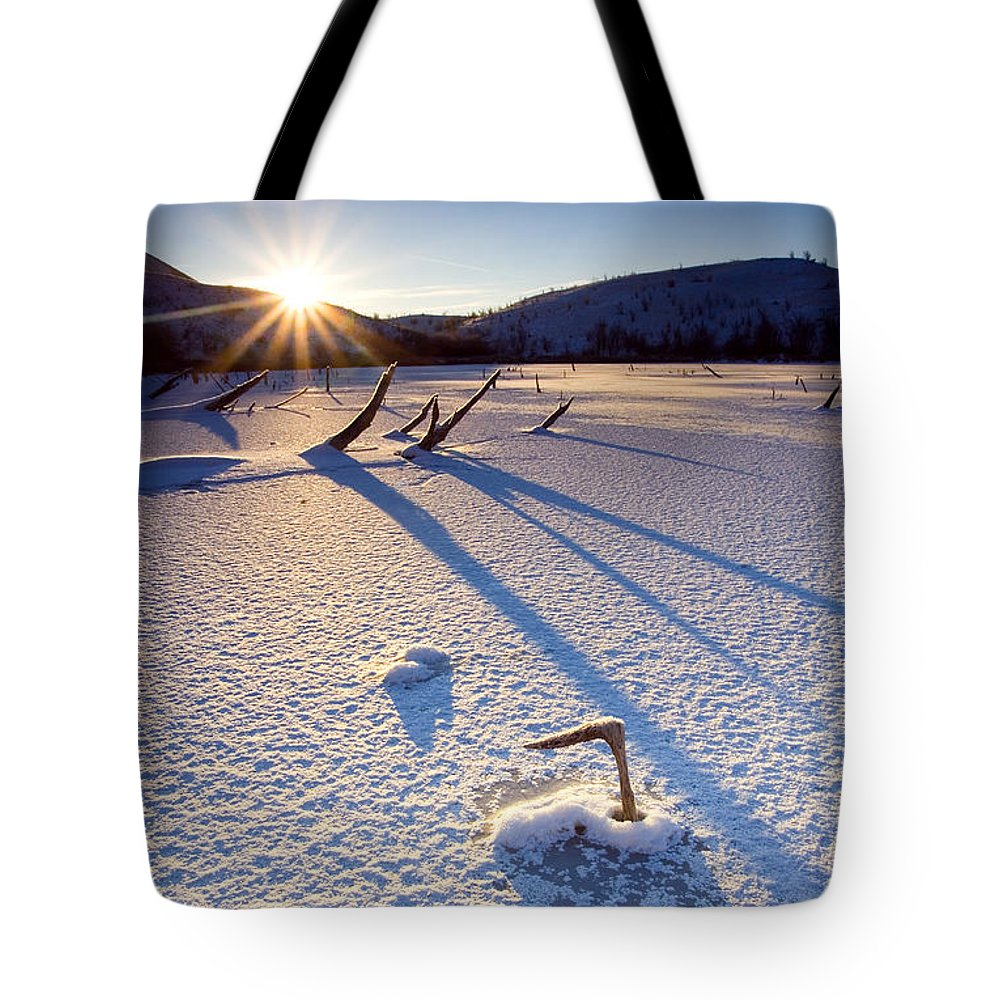 Sunrise Tote Bag featuring the photograph The Long Shadows Of Winter by Mike Dawson